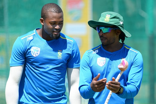 Andile Phehlukwayo and Malibongwe Maketa (Assistant Coach) during the South African national cricket team training session and press conference at PPC Newlands on January 29, 2019 in Cape Town, South Africa. (Photo by Grant Pitcher/Gallo Images)