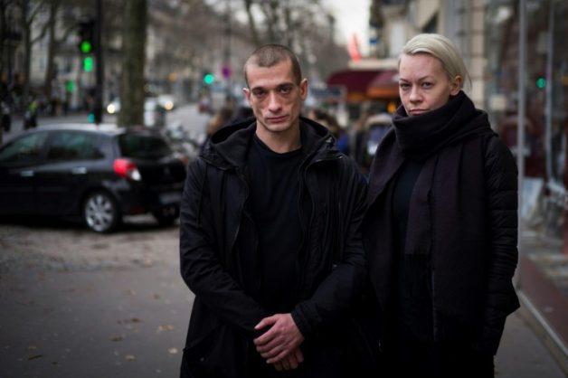Pyotr Pavlensky, left, and his partner Oksana Shalygina in Paris in January 2017.. AFP/File/MARTIN BUREAU
