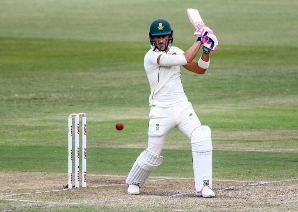 South Afria's cricket player Faf du Plessis plays a shot during the 3rd day of the first Test cricket match between South Africa and Sri Lanka at Kingsmead Cricket Ground in Durban on February 15, 2019. (Photo by Anesh DEBIKY / AFP)