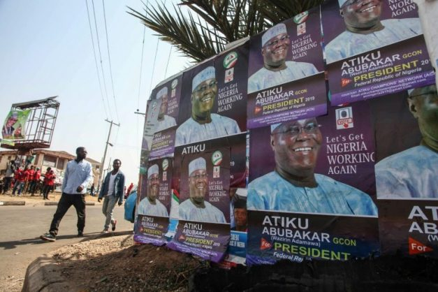 Nigerian opposition candidate Atiku Abubakar of the People's Democratic Party (PDP) is one of the top candidates hoping to be elected president in the February 16 election.. AFP/Sodiq ADELAKUN