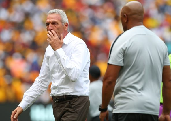 Ernst Middendorp, coach of Kaizer Chiefs and Shaun Bartlett, assistant coach of Kaizer Chiefs during the Absa Premiership 2018/19 match between Kaizer Chiefs and Orlando Pirates at FNB Stadium, Johannesburg on 9 February 2019 ©Samuel Shivambu/BackpagePix