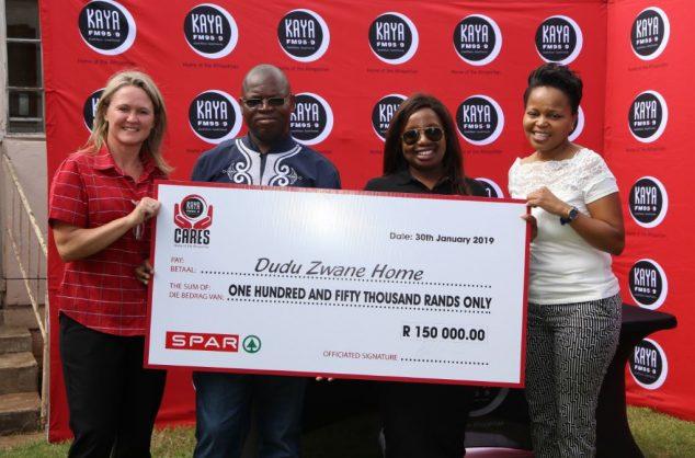 SPAR and Kaya FM generously donated R150 000 to the Dudu Zwane Home on Wednesday, 30 January 2019.