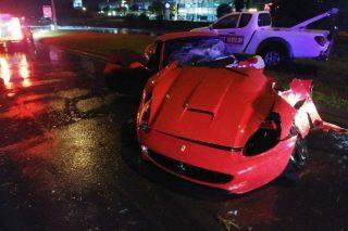 Ferrari torn in half in collision with street pole in Fourways
