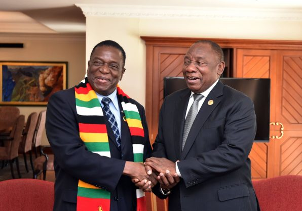 President Emmerson Mnangagwa of Zimbabwe (left) and our own Cyril Ramaphosa at the AU Summit. Picture: Twitter (@GovernmentZA)