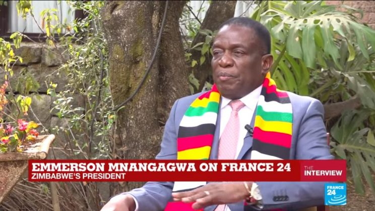 Zimbabwean President Emmerson Mnangagwa on France24. Picture: Screenshot.