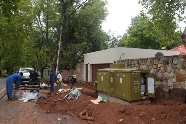 City Power contractors work on a mini-substation after it blew in Parkview, Johannesburg, 15 February 2019, as the power was turned back on shortly after load shedding. Picture: Tracy Lee Stark