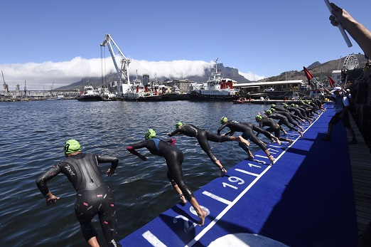 A general view at the swim start the elite women sprint race of the Discovery Triathlon World Cup Cape Town at Quay 6 V&A Waterfront and Cape Town Stadium Precinct on February 10, 2019 in Cape Town, South Africa. (Photo by Brenton Geach/Gallo Images)