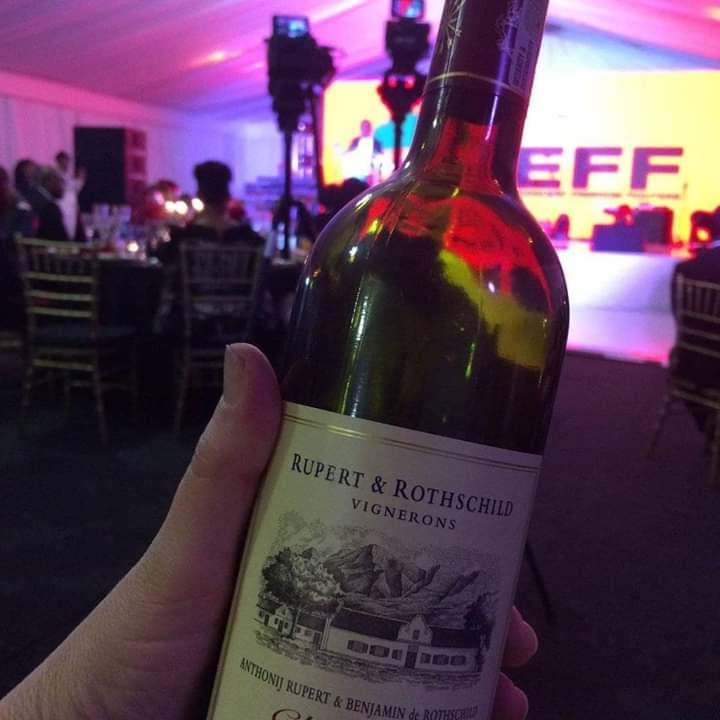 EFF laughed at for drinking Rupert & Rothschild wines at gala dinner