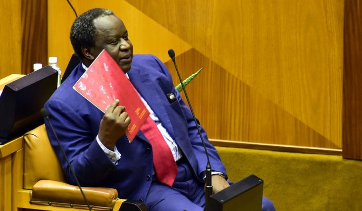 South Africa's Finance Minister Tito Mboweni preparing to deliver the budget. EPA-EFE/Elmond Jiyane