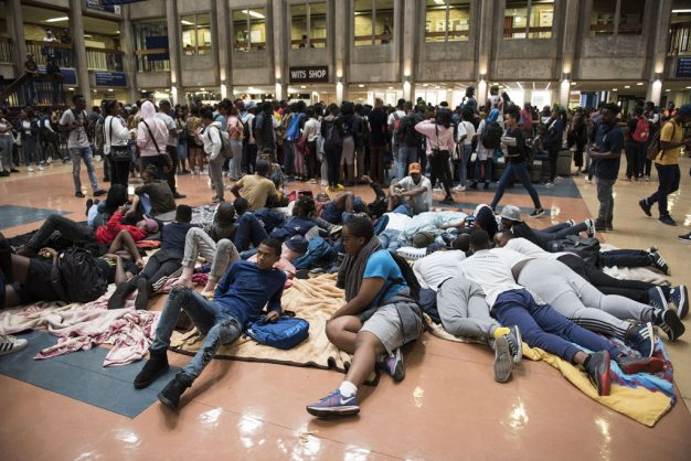 Students involved in a hunger strike are seen at Wits University while a group march in solidarity around the campus, 5 February 2019, as they call on the university to listen to their demands relating to accommodation, registration fees and financial exclusion. A student was injured earlier when a scuffle broke out between security and the protesters. Picture: Michel Bega