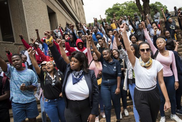 Students at Wits University march around campus, 5 February 2019, in solidarity with a group of other students partaking in a hunger strike calling on the university to listen to their demands relating to accommodation, registration fees and financial exclusion. A student was injured earlier when a scuffle broke out between security and the protesters. Picture: Michel Bega