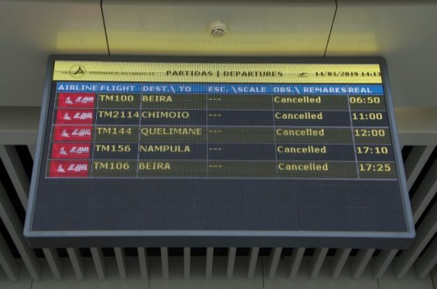 A departures electronic panel indicating that all flights are cancelled is seen on March 14, 2019 at the Maputo International Airport in Mozambique. Picture: EMIDIO JOSINE / AFP