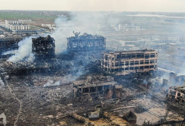 This file picture taken on March 22, 2019 shows an aerial view of damaged buildings after an explosion at a chemical plant in Yancheng in China's eastern Jiangsu province. - The death toll from a chemical plant explosion in China rose to 78 on March 25, 2019, with hundreds still receiving medical treatment four days after one of the country's worst industrial accidents. (Photo by STR / AFP) / China OUT