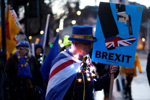 Anti-Brexit protesters gathered outside the Houses of Parliament in London on March 12 ahead of the first of a series of votes on Brexit. Picture: AFP / File / Tolga AKMEN