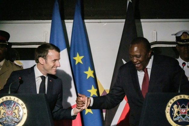 French President Emmanuel Macron and Kenyan counterpart Uhuru Kenyatta were among several heads of state in Nairobi for the fourth UN Environment Assembly -- a vast gathering of ministers, legal experts, charities and business leaders. AFP/Yasuyoshi CHIBA