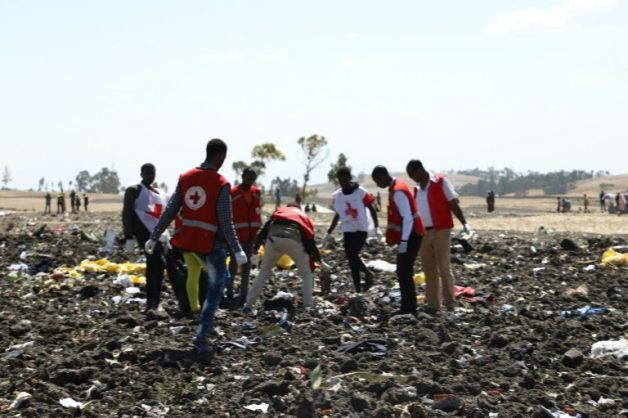 Red Cross teams work through the debris of an Ethiopian Airlines plane which crashed shortly after take-off from Addis Ababa, killing all 157 on board. AFP/Michael TEWELDE