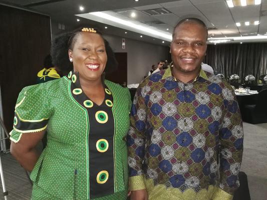 African National Congress KwaZulu-Natal spokesperson, Nomagugu Simelane-Zulu, with provincial secretary, Mdumiseni Ntuli, during a media breakfast in Durban on Tuesday. Photo by African News Agency (ANA).