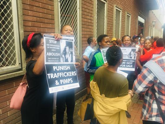 Sex trade survivor movement, Kwanele, members support murdered Siam Lee's mother during a protest outside the Durban Magistrate Court. Pictures: Supplied by Kwanele