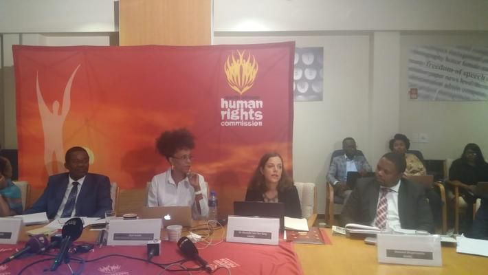 SAHRC officials on Wednesday at the announcement of findings against Julius Malema the leader of the EFF. Picture and video clip. Itumeleng English/ANA