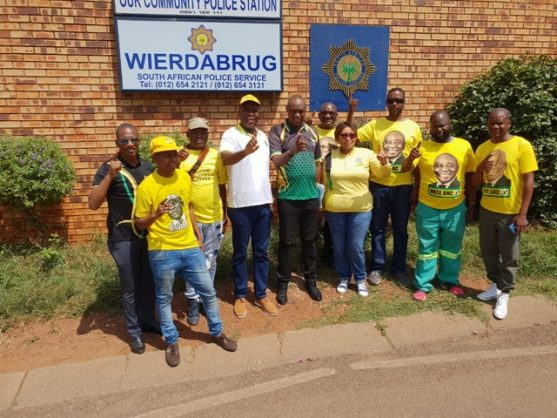 ANC Tshwane members outside the Wierdabrug police station, 13 March 2019, after laying charges against DA councillor Kingsley Wakelin. Picture: ANA