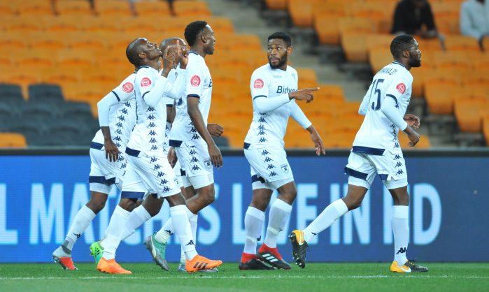 Terrence Dzvukamanja of Bidvest Wits celebrates a goal with teammates. (Pic Sydney Mahlangu/BackpagePix)
