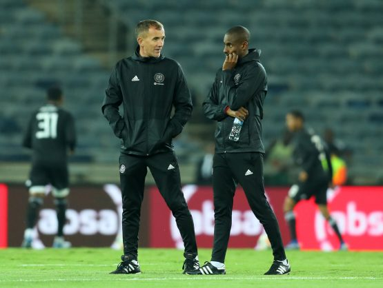 Micho Sredojevic, coach of Orlando Pirates and Rhulani Mokwena, assistant coach of Orlando Pirates during the Absa Premiership 2018/19 match between Orlando Pirates and Bloemfontein Celtic at Orlando Stadium. (Samuel Shivambu/BackpagePix)