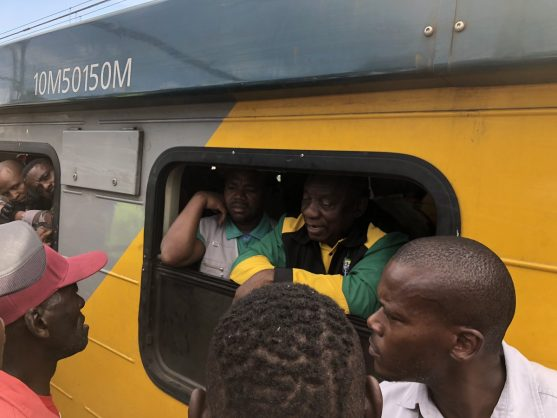 President Cyril Ramaphosa was on a train from Mabopane station to Pretoria CBD (Bosman station) when it was delayed for two hours at Bosman station, 18 March 2019. Picture: Twitter