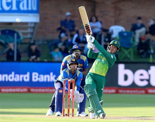 Kusal Mendis of Sri Lanka and Quinton de Kock of South Africa during the 4th Momentum ODI match between South Africa and Sri Lanka at St Georges Park on March 13, 2019 in Port Elizabeth, South Africa. (Photo by Richard Huggard/Gallo Images)