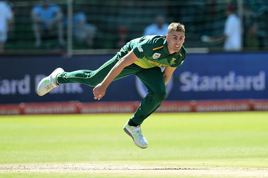 Anrich Nortje  of South Africa in his Bowling follow through during the 4th Momentum ODI match between South Africa and Sri Lanka at St Georges Park on March 13, 2019 in Port Elizabeth, South Africa. (Photo by Isuru Sameera Peiris/Gallo Images)