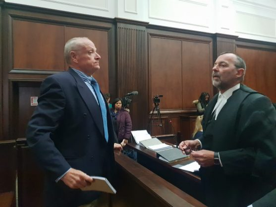 Murder accused Rob Packham, left, in the Western Cape High Court, 11 March 2019. Picture: Catherine Rice / African News Agency (ANA)