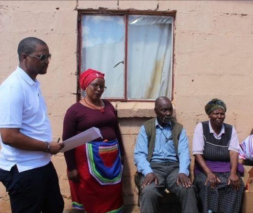 Zwelinjani and Nomsa Lawu seated with Babalo Madikizela. The Lawus had been living in their home without title deeds since the Ciskei era. Picture: African News Agency (ANA)