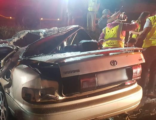 Three people were killed and two others were seriously injured when a car crashed into a tree along Voortrekker Road in Krugersdorp, west of Johannesburg on Friday night. Photo: ER24