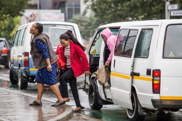 People getting out of a minibus taxi in city traffic in Sandton, Johannesburg. Picture: iStock