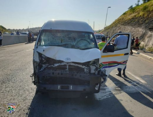 The taxi which was involved in the accident in Durban in which three schoolgirls died, 6 March 2019. Picture: Rising Sun Overport.