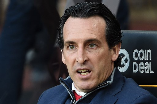 Arsenal's Spanish head coach Unai Emery reactsa ahead of the English Premier League football match between Wolverhampton Wanderers and Arsenal at the Molineux stadium in Wolverhampton, central England on April 24, 2019. (Photo by PAUL ELLIS / AFP) / RESTRICTED TO EDITORIAL USE. No use with unauthorized audio, video, data, fixture lists, club/league logos or 'live' services. Online in-match use limited to 120 images. An additional 40 images may be used in extra time. No video emulation. Social media in-match use limited to 120 images. An additional 40 images may be used in extra time. No use in betting publications, games or single club/league/player publications. /
