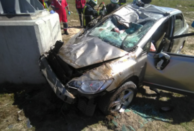Woman dies, man and child seriously injured as car crashes into