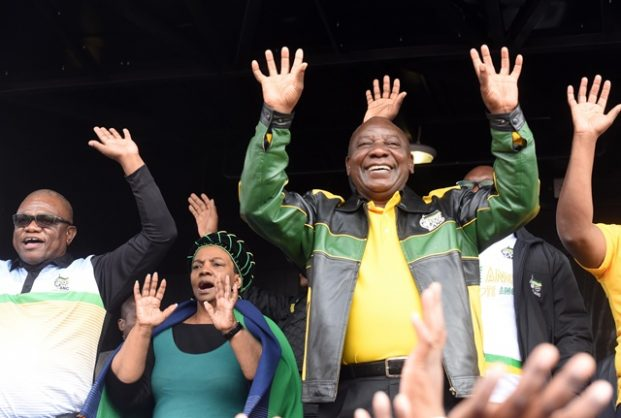 African National Congress president, Cyril Ramaphosa (c)  addresses Alexandra residents at Alexandra Stadium in Johannesburg, 11 April 2018, as part of a, election campaign. Picture: Nigel Sibanda