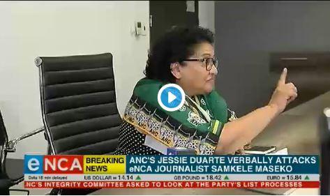 Screengrab of ANC deputy secretary general Jessie Duarte admonishing eNCA journalist Samkele Maseko, 2 April 2019.