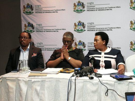 eThekwini municipal manager Sipho Nzuza, eThekwini mayor Zandile Gumede and Cogta MEC Nomusa Dube-Ncube at a press briefing on Thursday evening, 25 April 2019. Picture: Cogta.