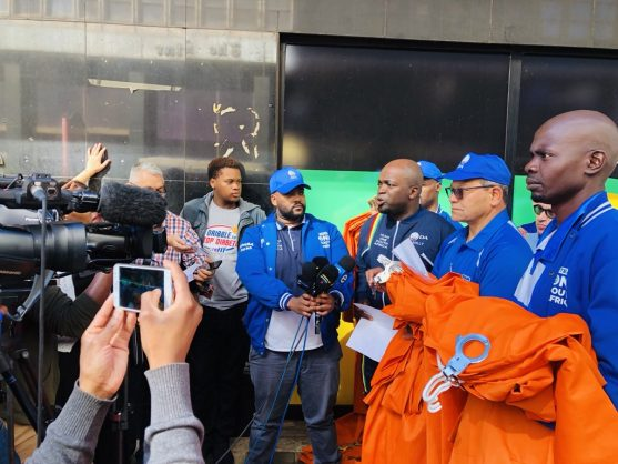 The DA leaves orange, prison jumpsuits outside ANC headquarters Luthuli House as a statement against the inclusion of politicians accused of corruption on the ANC elections list. Picture: Twitter (@SollyMsimanga)