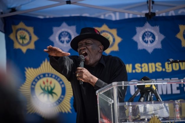 Police Minister Bheki Cele is seen during the opening of the Dube police station, 25 April 2019, Winterveld, Pretoria. Picture: Jacques Nelles