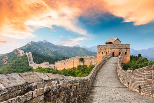 Great Wall of China at the jinshanling section,sunset natural landscape