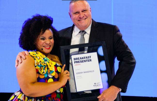 Liberty Radio Awards 2019 host, Lebo Mashile with winner Jeremy Mansfield | Image: Supplied