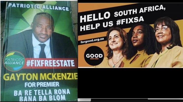 Patriotic Alliance and GOOD argue over who owns 'Fix the Free State' slogan