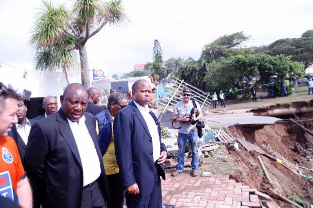 President Cyril Ramaphosa at Rockview Road in Amanzimtoti, south of Durban, during his visit to flood damaged areas, 24 April 2019. Picture: Supplied / GCIS