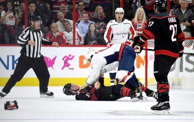 Svechnikov in concussion protocol after Ovechkin fight