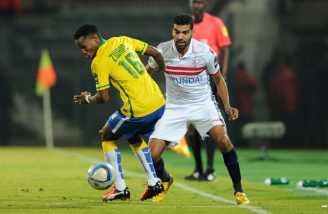 Midfielder Themba Zwane has scored six goals for Mamelodi Sundowns in the CAF Champions League this season. AFP/STRINGER