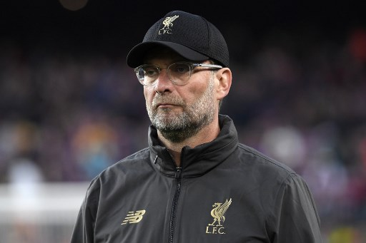 Liverpool's German coach Jurgen Klopp attends the UEFA Champions League semi-final first leg football match between Barcelona and Liverpool at the Camp Nou Stadium in Barcelona on May 1, 2019. (Photo by LLUIS GENE / AFP)