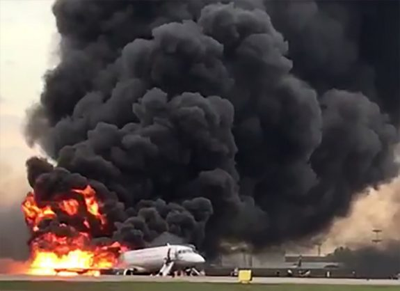This handout grab of a video obtained from the Instagram account of Gunkevitch on May 5, 2019, shows a fire of a Russian-made Superjet-100 at Sheremetyevo airport outside Moscow. - The Interfax agency reported that the plane, a Russian-made Superjet-100, had just taken off from Sheremetyevo airport on a domestic route when the crew issued a distress signal. 13 person died according to Russian agencies. (Photo by HO / INSTAGRAM / AFP)