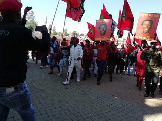 May 5 - EFF supporters stream into the Orlando Stadium in Soweto for the party's final rally ahead of the May 8 general elections: Photo: ANA/Siphelele Dludla